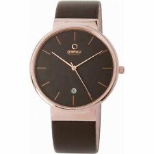 Obaku Klar Men's Watch With Brown Leather Strap V153GDVNRN