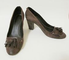 ndc: Made by Hand Italian Shoes 38.5 8.5 Brown w/ Fringe Tassels Leather Pumps