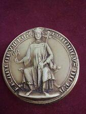 Superbe MEDAILLE medaillon de table sceau royal lys sceptre ST LOUIS 9 ?  B101