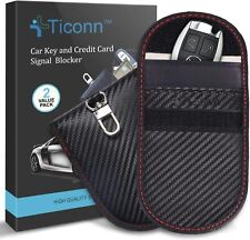 Faraday Bag for Key Fob (2 Pack), Ticonn Cage Carbon Fiber Texture