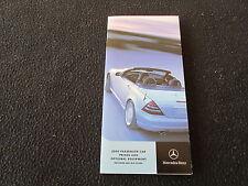 2000 Mercedes Price Brochure S430 S500 SL500 SL600 E55 E320 SL CLK 2001 SLK230