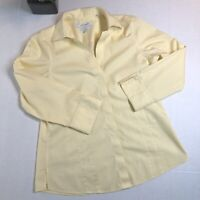 Foxcroft Heritage Non-Iron Yellow Cotton Button-Down 3/4 Sleeve Size 8 Fitted