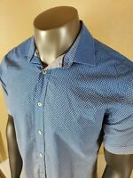 Bugatchi Uomo Mens Blue Check Fade Classic Fit Button Up Shirt Size Large