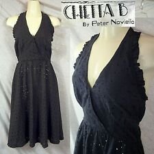 Vintage CHETTA B by PETER NOVIELLO Black Rayon Eyelet Halter Disco Dress Size XS