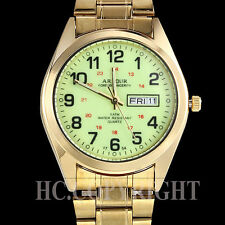 Deluxe Mens Gold Plated Date Day Stainless Steel Quartz Analog Wrist Watch Gift