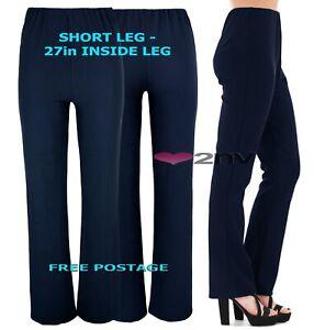Ladies 27inch SHORT LEG NAVY Trousers Nurse Work Carer Stretch Elasticated Pant.