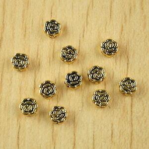 100pcs dark gold-tone sunflower spacer beads h2324