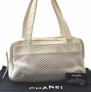 Authentic CHANEL Canvas Calf Skin Shoulder Hand Bag White Ivory C4973