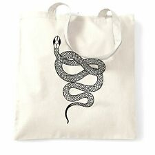 Animal Art Tote Bag Illustrated Snake Tattoo Graphic Serpent Wildlife Gift