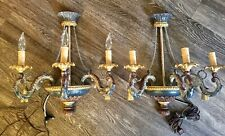 New listing Horchow 3 Arm Italian Hand Carved Gilt Wood & Metal Candle Sconces