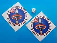 2 x Vintage AC Delco Fire Ring Spark plugs Stickers 80mm F1 Classic