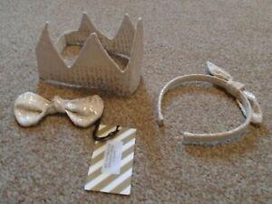 No Added Sugar Gold Jacquard Crown, Fun Bow & Spontaneous Hair Band RRP £65