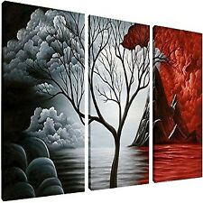 3 Piece Modern Art Abstract Painting Canvas Wall Ready to Hang Red Framed Big