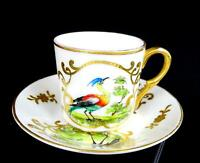 "BOHEMIAN CZECH PORCELAIN SIGNED GILDED CAMEO 1 3/4"" DEMITASSE CUP & SAUCER 1870"