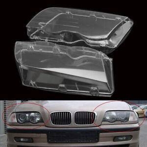 Car Headlight Lens Polycarbonate Cover Set For BMW E46 3-Series 4DR Wagon Sedan