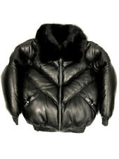 Jakewood Men's V-Bomber Lambskin Jacket With Removable Fox Fur Collar, Size L
