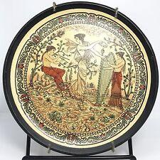 "Vtg Greek Goddess MUSE 8"" red clay wall deco souvenir Euterpe Made in Greece"