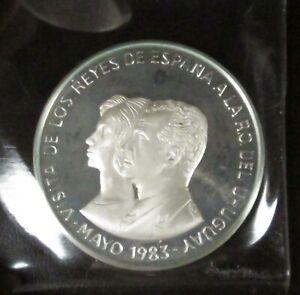 King of Spain Visit to Uruguay 2000 Nuevo Pesos 1983 SILVER 1.88ozt ASW in OGP