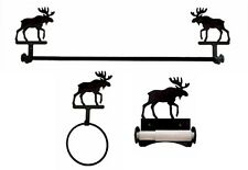 Wrought Iron Moose Bath Set with Roller Style Toilet Paper Holder