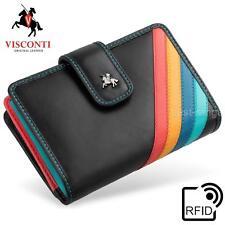Ladies Purse Soft Leather RFID Black/Multi Visconti Luxury in Gift Box CHL71