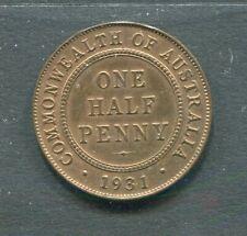 AUSTRALIA 1931 1/2 HALF PENNY GEORGE V VF TO EF . ATTRACTIVE