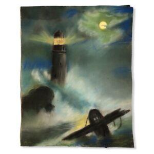 "Ocean Lighthouse Plane Crash At Night Pastel Drawing Vintage Unframed 16"" x 20"""