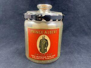 Vintage 1910 Prince Albert Crimp Cut Tobacco Glass Jar Tax Stamp & Locking Lid