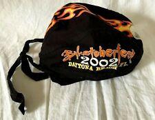 "Harley Davidson Black Cloth Doo Rag - ""2002 Daytona Beach, Fl, Biketoberfest"""