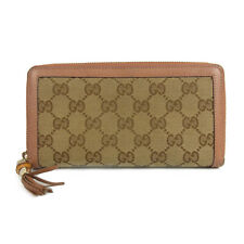 Auth GUCCI Bamboo GG Canvas Leather Round Zipper Long Wallet Brown 19260bkac