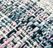 """58"""" Rustic Weave Polyester Tweed Suiting Fabric PINK GREY WHITE NAVY By the Yard"""
