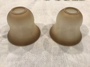 NEW HAMPTON BAY ALABASTER BROWN FROSTED GLASS BELL SHADE 1 5/8 IN FITTER OPENING