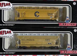 Atlas HO Trainman C&O ACF 3560 Covered Hoppers, Corn Products Lot Of 2 Cars NIB