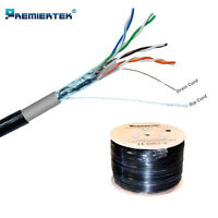 OUTDOOR SHIELD CAT5E FTP 1000FT DIRECT BURIAL ETHERNET LAN NETWORK CABLE WOODEN