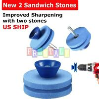New Lawn Mower Sharpener Power Hand Drill Knife Sharpening Stone Grindstone