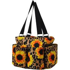 Sunflower Leopard NEW NGIL Small Zippered canvas purse Caddy Organizer Tote Bag