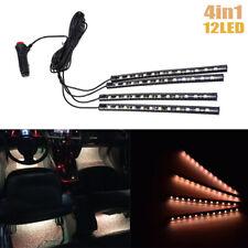 12 LED Orange Car Interior Accessories Floor Decorative Atmosphere Lamp Light 4x
