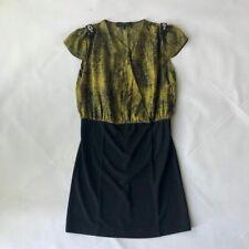 Robert Rodriguez gold and black silk party mini dress US6 UK8 10 netaporter