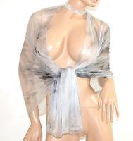STOLA donna GRIGIO ARGENTO coprispalle maxi foulard scialle sciarpa velato A2