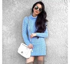 Womens Long Sleeve Cowl Polo Neck Cable Knitted Jumper Mini Dress Top 8-22