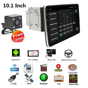Rotatable 10.1in 2DIN Car Radio Stereo Video BT Player WiFi GPS 1+16GB w/Camera