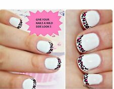 Avon Pink Black & White Leopard Style Fashion Nail Tip Stickers - 28 Tips