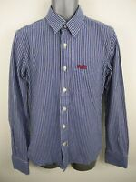 MENS SUPERDRY BLUE/WHITE STRIPED BUTTON UP LONG SLEEVED CASUAL SHIRT UK M MEDIUM