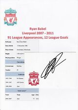 RYAN BABEL LIVERPOOL 2007-2011 ORIGINAL HAND SIGNED CRESTED CARD
