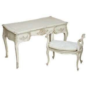 EARLY PAINT ANTIQUE FRENCH LOUIS XV STYLE BUREAU PLAT WRITING DESK & STOOL