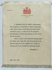 Rare Silk message from Queen Mother to the 1961 Silk Congress