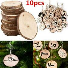 10Pcs Wood Christmas Tree Hanging Ornaments Props Kids DIY Painting Craft Decor