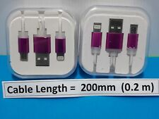 USB cable to both Micro USB and  Apple Lightning 8 pin