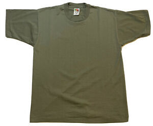 Vintage 90s Blank T Shirt Fruit Of The Loom Best Size Large Olive Green