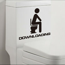 Waterproof Cute DOWNLOADING Removable Toilet Lid Vinyl Wall Decal Sticker Decor