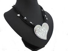 Silver Hammered Big Heart Beads Black Leather Multi Cords Coller Choker Necklace